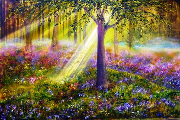 How To Paint The Sun In Woods With Acrylics